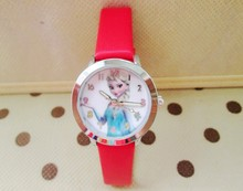 New Cartoon 2015 Princess Elsa Anna Watches / Fashion Children Watch Girls Kids Students Leather Sports Wristwatches