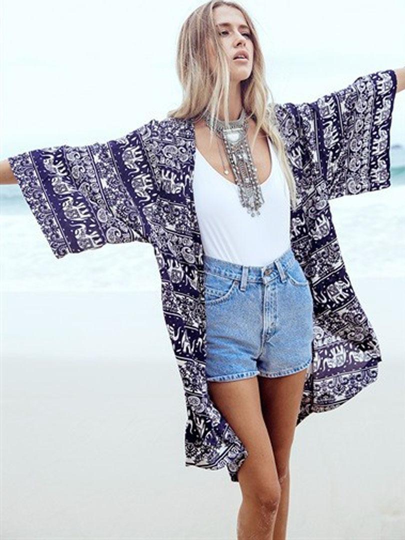 2015 Women Summer Cardigans Blue Three Quarter Batwing Sleeve Tropical Floral Print Beach Wear Loose Long Casual Chiffon Kimono(China (Mainland))