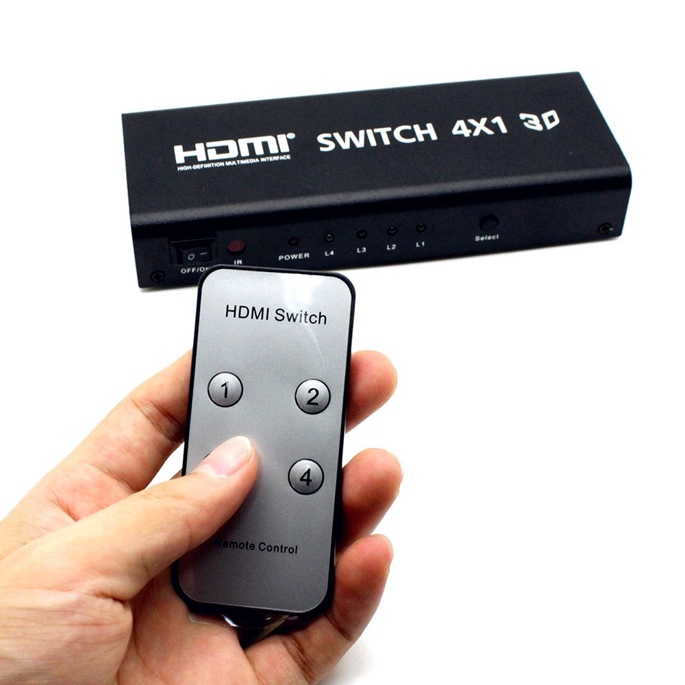 Reliable HDSW4 4 x 1 5 Ports HDMI Switch Switcher Splitter With IR Wireless Remote Support 3D 1080P US Plug For Multiple Sources(China (Mainland))
