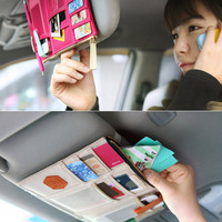 1pc Car Organizer Storage Bag  Accessories Visor Receive Bag Card Phone CD Holders For Car Oxford -- BIB61 PA33 Wholesale