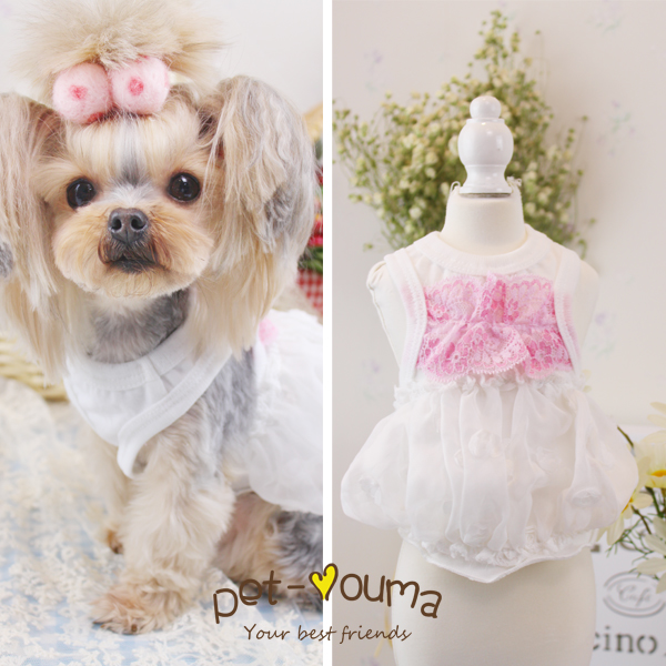 2016 new fashion spring/summer puppy Chihuahua Puff lace flowers vest pet dog T-shirt cheap teacup clothes for dogs dresses(China (Mainland))