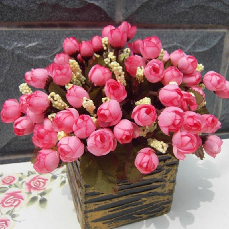 12 Pcs/Lot 8 Color Rustic Artificial Flower Mini Rose Silk Flower Home Decorations