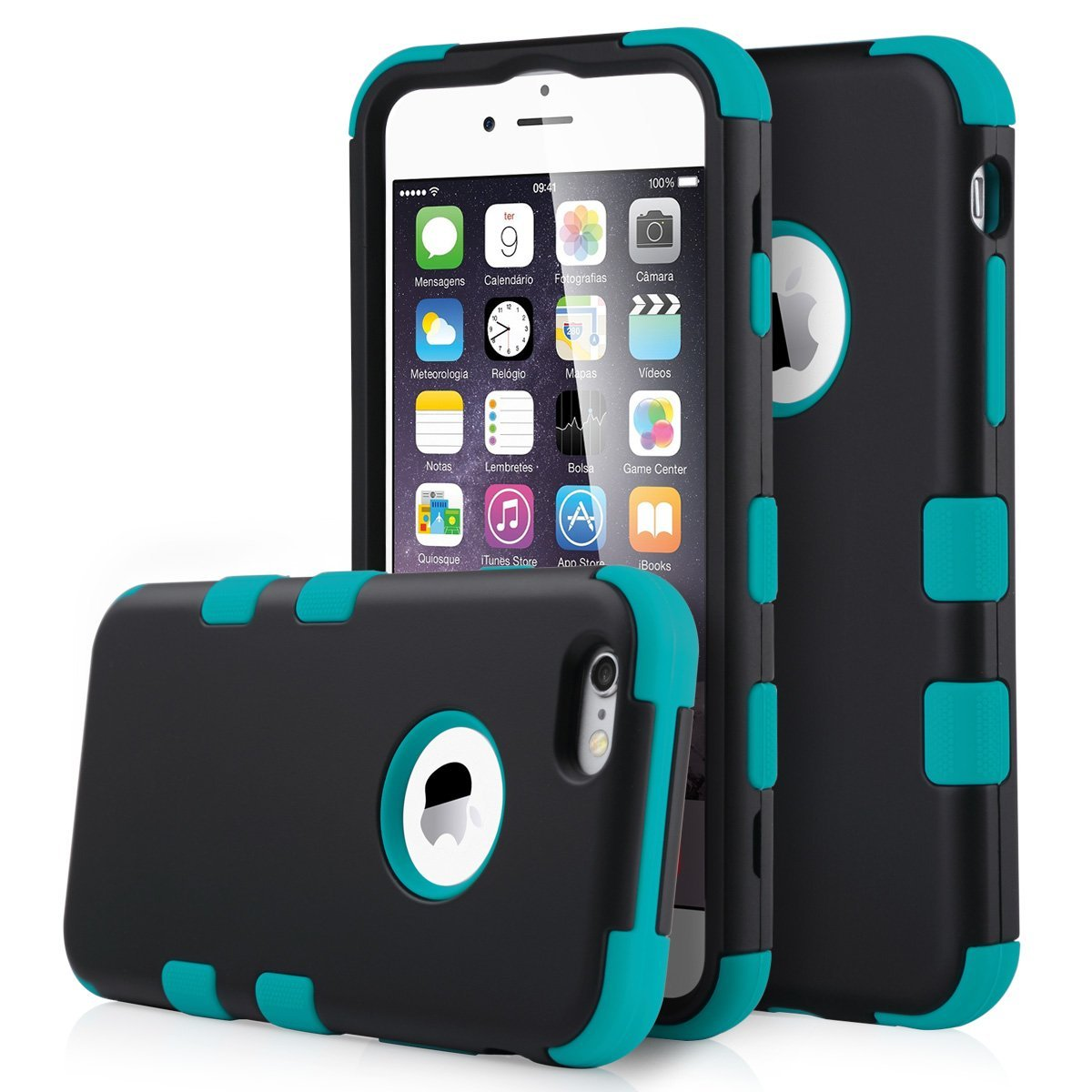 """ULAK Hard Plastic and Silicone Protective Case [Heavy Duty] [Dual-Layer] Cover for iPhone 6 Plus(5.5"""") (Black+Blue)(China (Mainland))"""