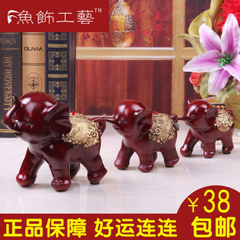 Fish fashion resin elephant lucky decoration mother and son triratna lucky home accessories