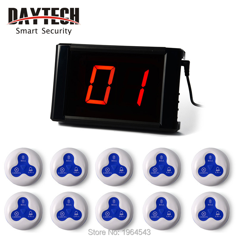 Restaurant Call Bell system Wireless Calling system Waiter Round Service Button Restaurant coffee calling Buzzer 171+10PCS E03A()