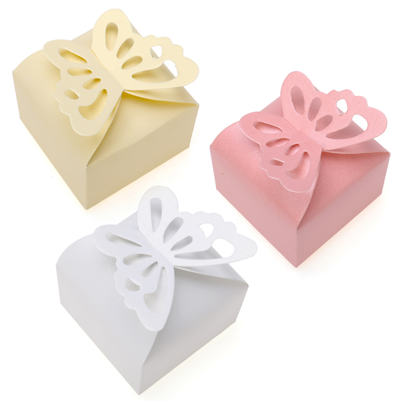 50Pcs Butterfly Candy Box DIY Folding Party Wedding Decoration Gift Paper Favors Boxes for Wedding Decoration White/Pink(China (Mainland))
