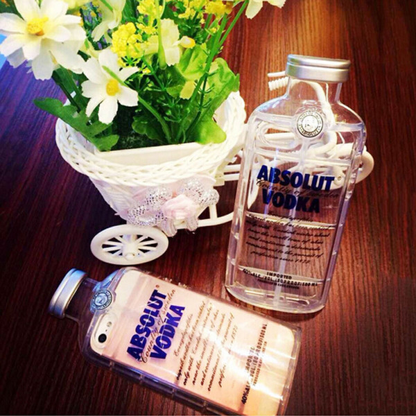 New Style Luxury Crystal absolute Vodka alcohol Wine Bottle Transparent Clear TPU Phone Case For Iphone 5 5s Flip Cover FJXA8(China (Mainland))