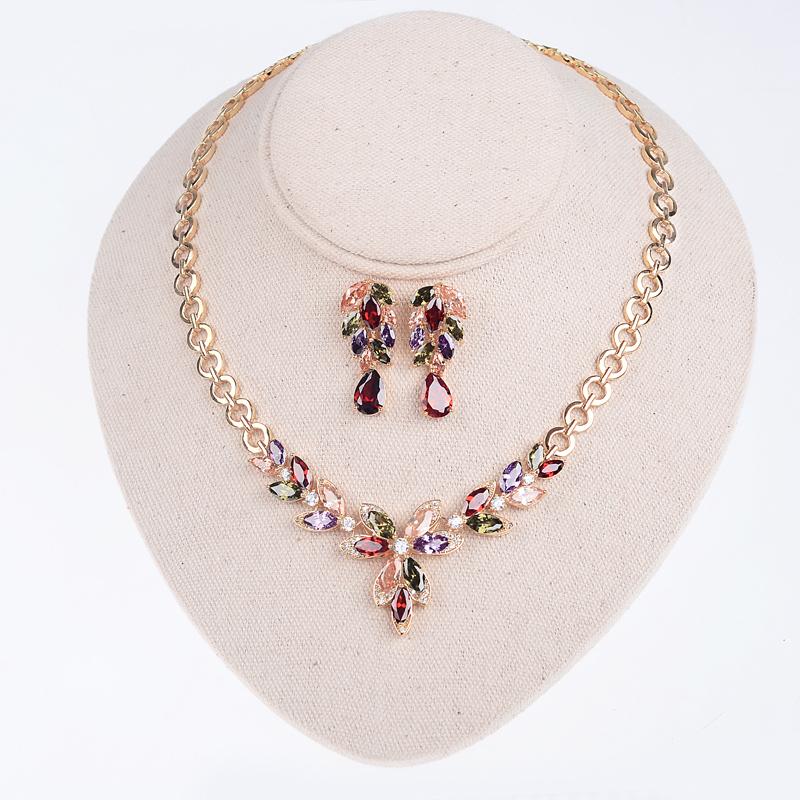 Bella Afrian Wedding Jewelry Set Mona Lisa Flower Shape CZ Diamond Brides Jewelry Sets For Women Bridal Accessories