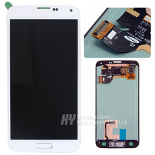 100% Original for Samsung Galaxy S5 G900F/M/A/P/T/V LCD display touch screen Digitizer with home button sticker freeshipping(China (Mainland))
