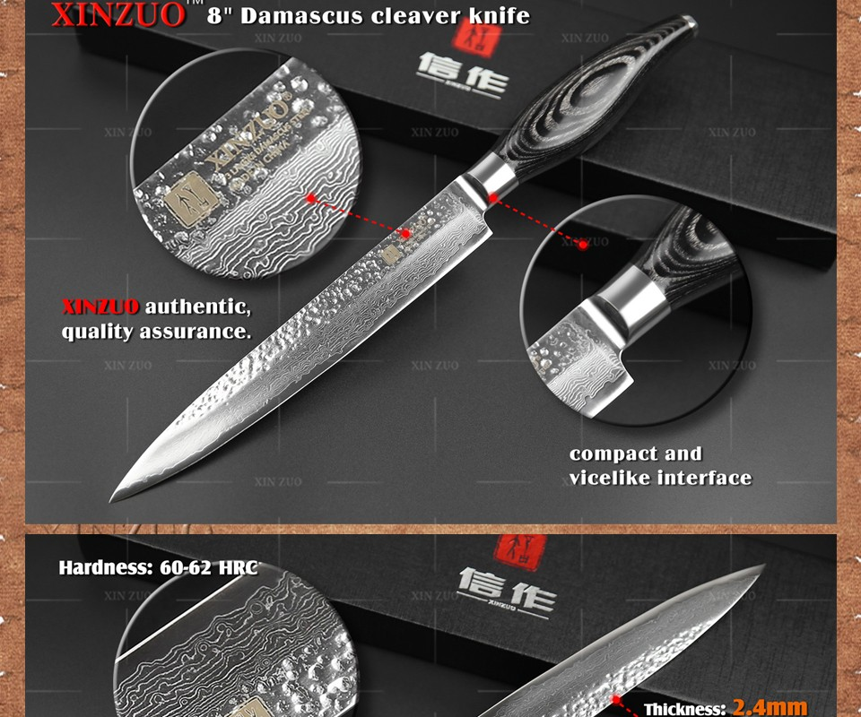 "Buy XINZUO 8 "" inch 73 layers cleaver knife Japan Damascus kitchen knife kithcen tool senior Sashimi knife wood handle free shipping cheap"