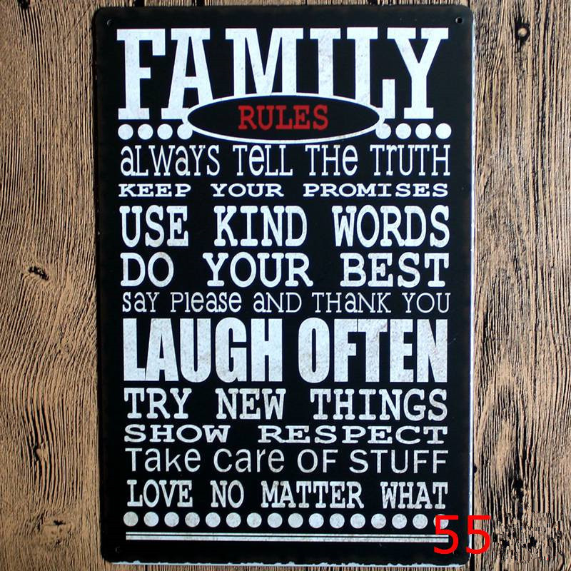Family Rules metal art poster home decor House Cafe Vintage Bar signs Wall Decor Retro Metal Art Poster Mix order 20*30CM(China (Mainland))