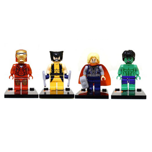 2014 New Free Shipping 4pcs/Lot Iron Man X-men Thor Hulk Super Heroes Minifigures Blocks Kid IQ Exercise Building Toys Figures(China (Mainland))