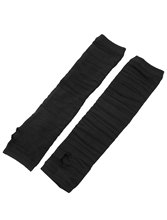 Ladies Knitted Elastic Hands Arm Warmers Thumbhole Gloves Black(China (Mainland))