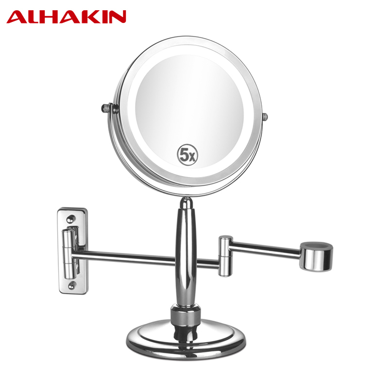 7 Inch 3 IN 1 Function LED Makeup Mirror 1/5X Magnification Wall Mounted, Table and Hand Mirror Chrome Bathroom Batteries Mirror<br><br>Aliexpress