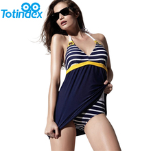 New Sexy Stripe Plus Size Padded Navy Blue Halter Skirt Swimwear With Stripes Underwear Women Sexy One Piece Swimsuit Beachwear(China (Mainland))