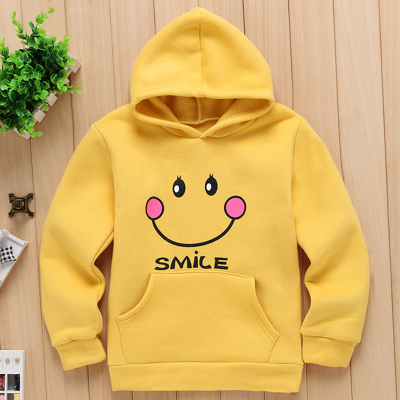 2016 Winter Spring 4-8 Years Cotton Fleece Kids Boys Hoodied Sweatshirts Smile Pattern Baby Girls Hoodies Outwear Coat Clothing(China (Mainland))