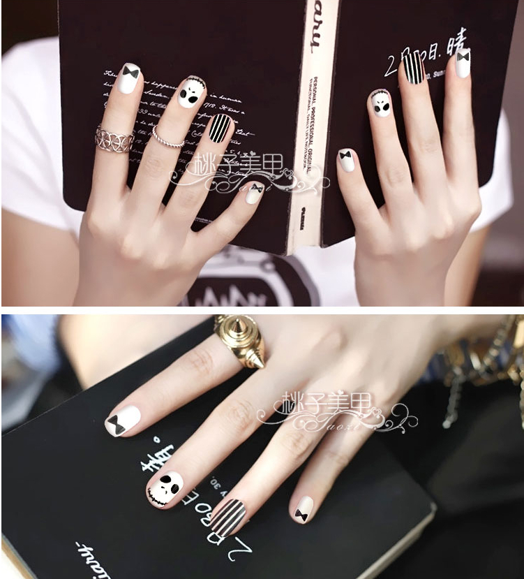 Free Shipping Fashion Punk 3D Black gold style pub Nails Patch /False Nails/Fake Nail/Nail Tips 24 pcs/sets Art Sticker pop gift(China (Mainland))