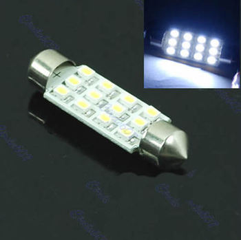 A31 Wholesale 5pcs/lot 41mm Festoon Dome 12 SMD 1206 LED Car Interior Bulb Light Lamp White
