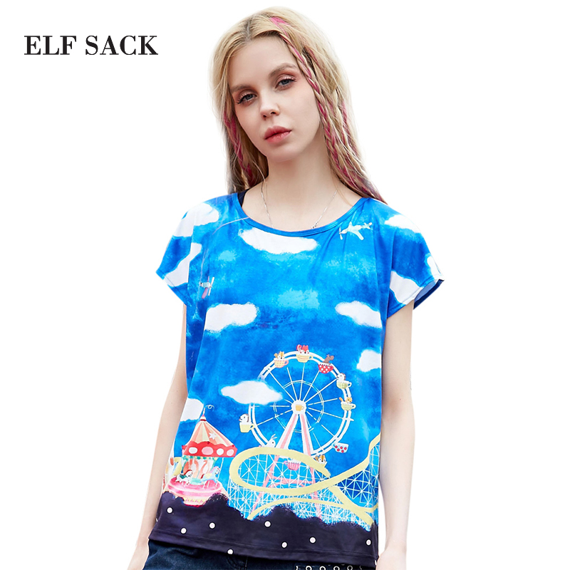 Elf SACK spring female sweet print brief o-neck loose short-sleeve all-match T-shirt female bОдежда и ак�е��уары<br><br><br>Aliexpress