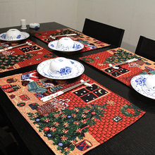 4 pieces a lot square 33* 48 cm Christmas table mat kitchen dining table decoration free shipping (China (Mainland))