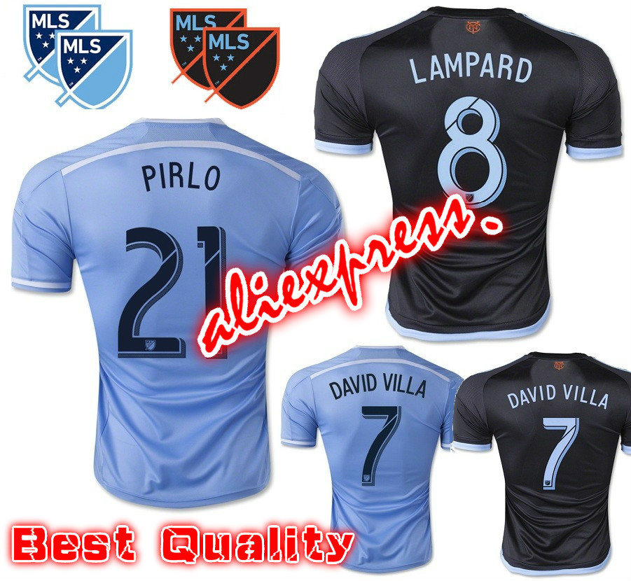 2016 New York City FC Soccer Jersey 15 16 PIRLO DAVID VILLA LAMPARD Home Sky Blue Away Black Football shrit NYCFC MIX Jersey(China (Mainland))