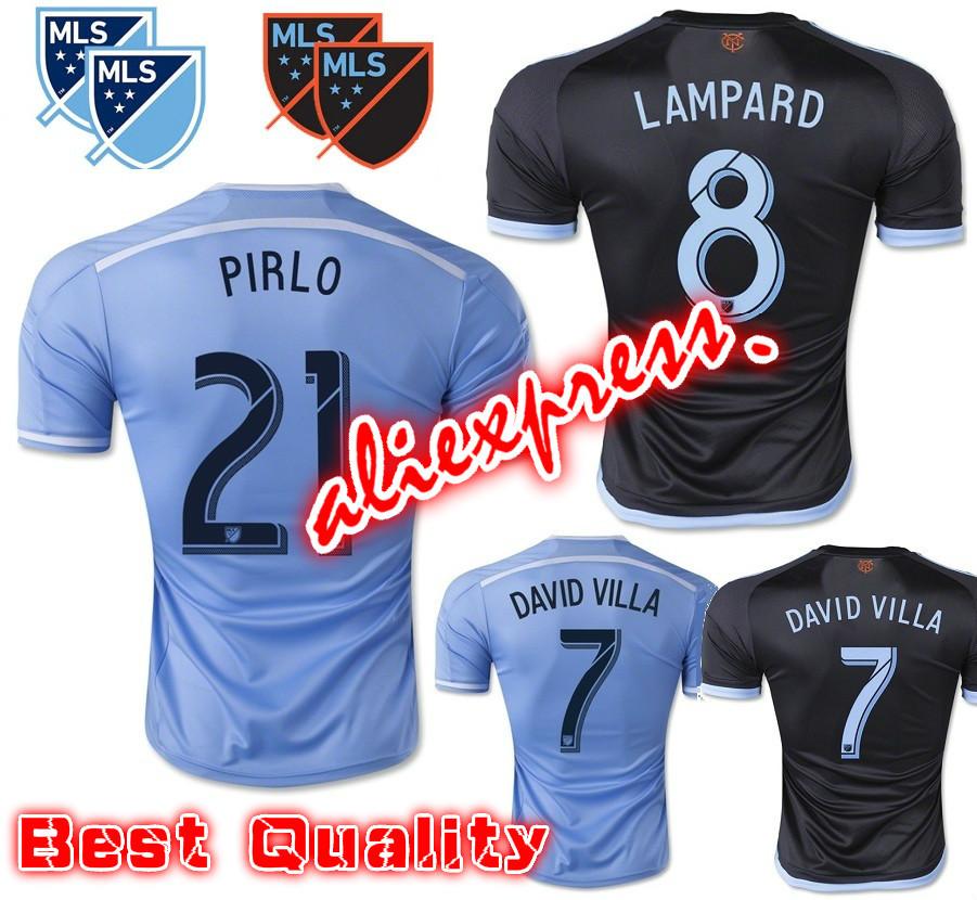 2016 New York City FC Soccer Jersey 15 16 PIRLO DAVID VILLA LAMPARD Home Sky Blue Away Black Football shrit NYCFC MIX Jersey(China (Mainland))