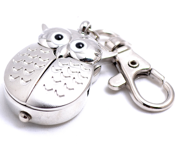 Сова в форме кварцевые брелок часы-кулон подарок, Продвижение часы серебро золото