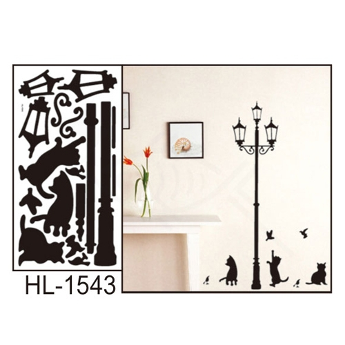 Hot Sail Under the Streetlights Kitten the Bedroom of Children Room Sitting Room Background Wall Stickers.30*60cm(China (Mainland))