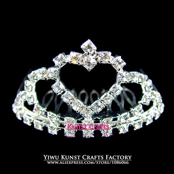 Factory Wholesale Silver Hair Combs Pageant Prom Baby Crowns Child Tiaras FC051(China (Mainland))