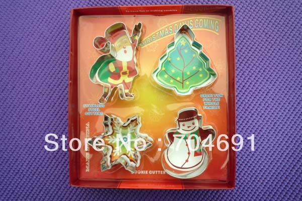 4pcs/set Santa/Snowman Shape Cookie Cutters Biscuit Mold Christmas Decorating cookie stamp(China (Mainland))