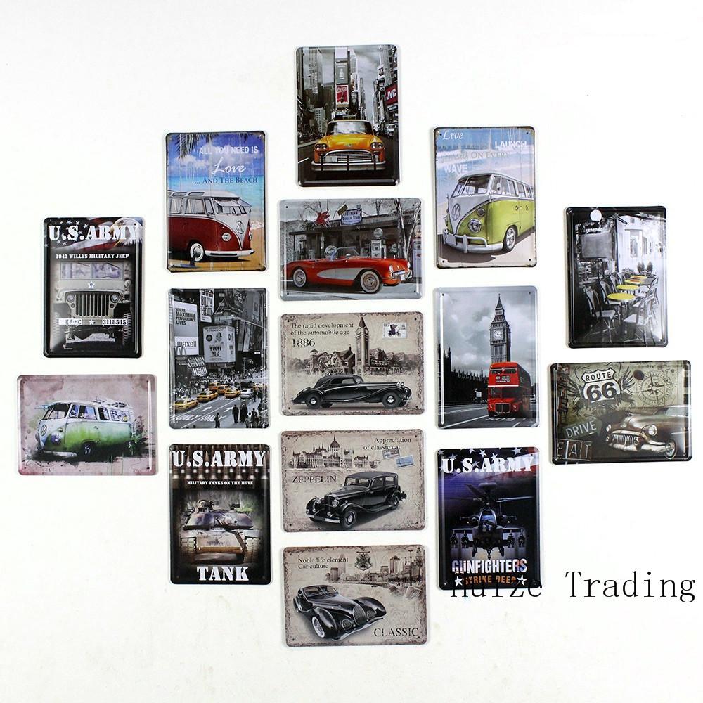 Freeshipping Vehicle series car tank buses 15X21cm vintage metal painting retro metal tin sign wall stickers home cafe bar decor(China (Mainland))