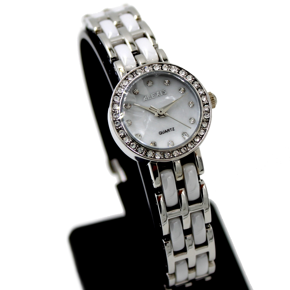 ALEXIS Brand FW862C Crystal Silver Watchcase Stainless Steel Buckle 3ATM Water Resistant Lady White Ceramic Watch Free Gifts Box(China (Mainland))