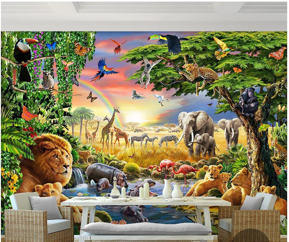 Custom 3d foto behang 3d muurschildering behang Regenboog green woods ...