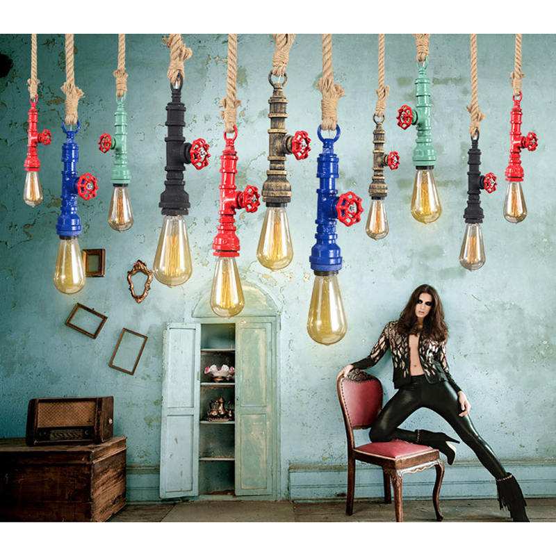 a lamp Hemp rope iron pipe LED chandelier all kinds of color collocation fashion personality for bar restaurant Chandelier(China (Mainland))