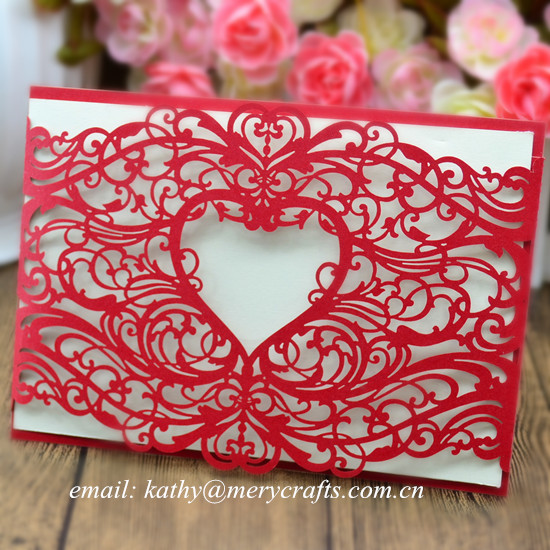 100pcs Personalised invitations accessories, christening invitation cards, red laser wedding invitations(China (Mainland))