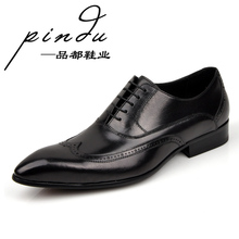 Commercial vintage casual male cowhide single shoes handmade leather genuine leather male shoes low-top cutout carved men's(China (Mainland))