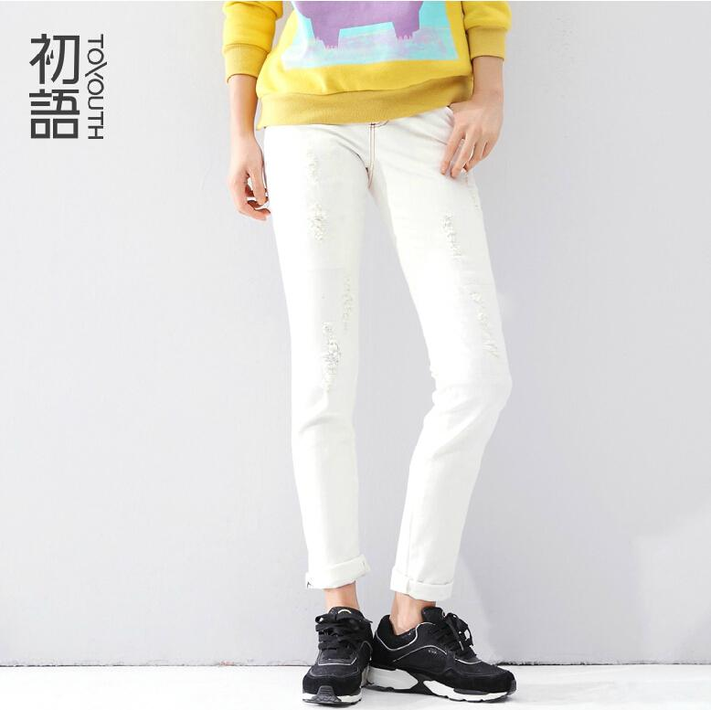 Здесь можно купить  2015 spring solid color slim hole trousers white straight jeans  Одежда и аксессуары