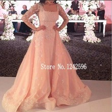 Abendkleider 2016 Square Neck Dubai Ladies Formal Gowns Saudi Arabia Middle East Long Peach Eveing Dresses With Sheer Sleeves