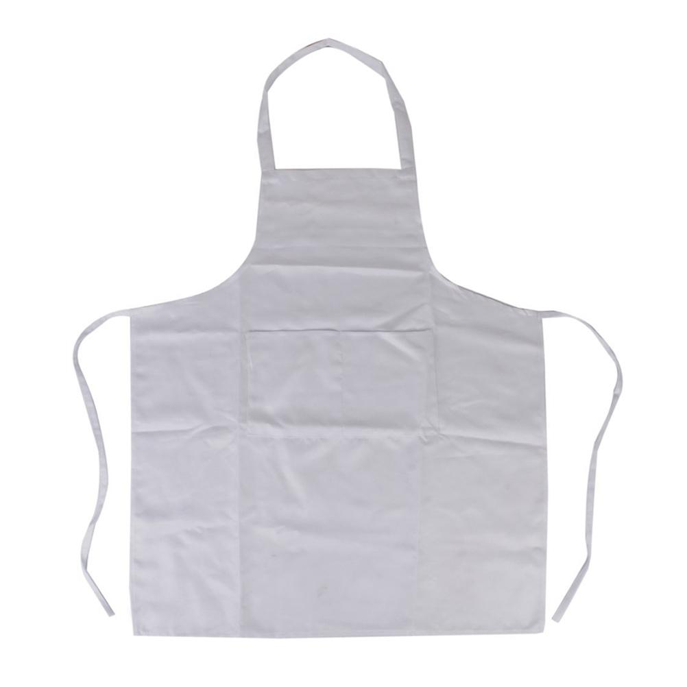Halter-neck Style Sleeveless Kitchen Cooking Apron with Pocket Cooking Cotton Apron Bib(White)(China (Mainland))