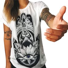 Summer Female White T shirt Women Tops 2016 Hamsa Hand 3D Print T-shirt Femme OWL Tshirt Graphic Tees Punk Rock Clothing - April Clothes & Accessories store