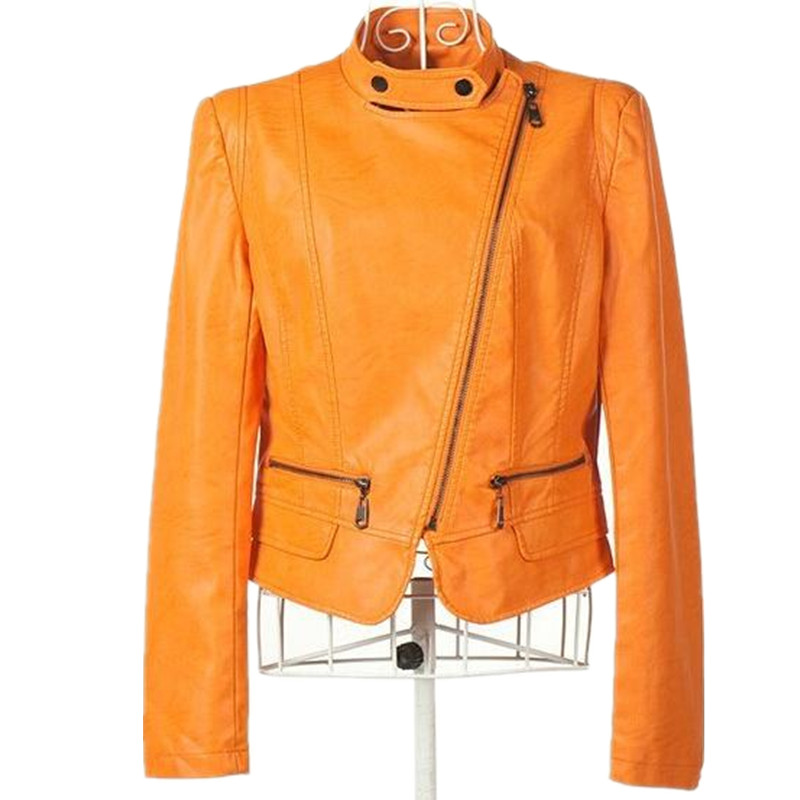 Free Shipping! 2015 Women New Arrival Solid Orange Pu Leather Jackets,Female Zipper Slim  Plus size Former OL OutwearОдежда и ак�е��уары<br><br><br>Aliexpress