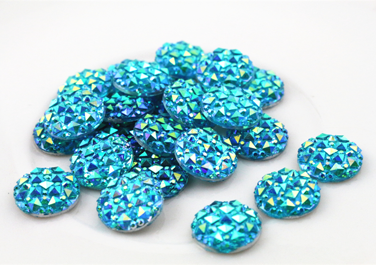 New Fashion 40pcs 12mm Blue AB Color Flat Back Resin Cabochons Cameo R-12061(China (Mainland))