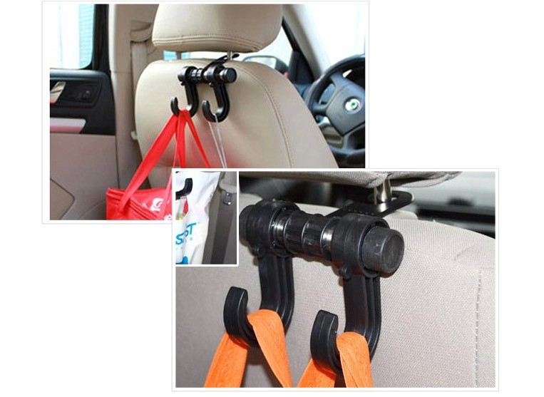 Freeshipping Utility Convenient Double Vehicle Hangers Auto Car Seat Headrest Bag Hook(China (Mainland))