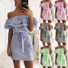 Buy 2017 Summer Dress Women Casual Ruffles Stripe Slim Mini Dress Sexy Slash Neck Shoulder Vestidos Party Dresses Beach dress for $6.11 in AliExpress store