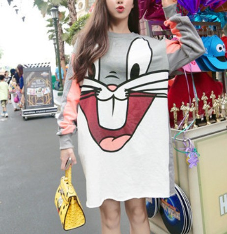 High-quality Hot 2015 New Fashion Casual Exclusive Custom Color Matching Hoodies Loose All-match Dress Female Sweatshirt(China (Mainland))