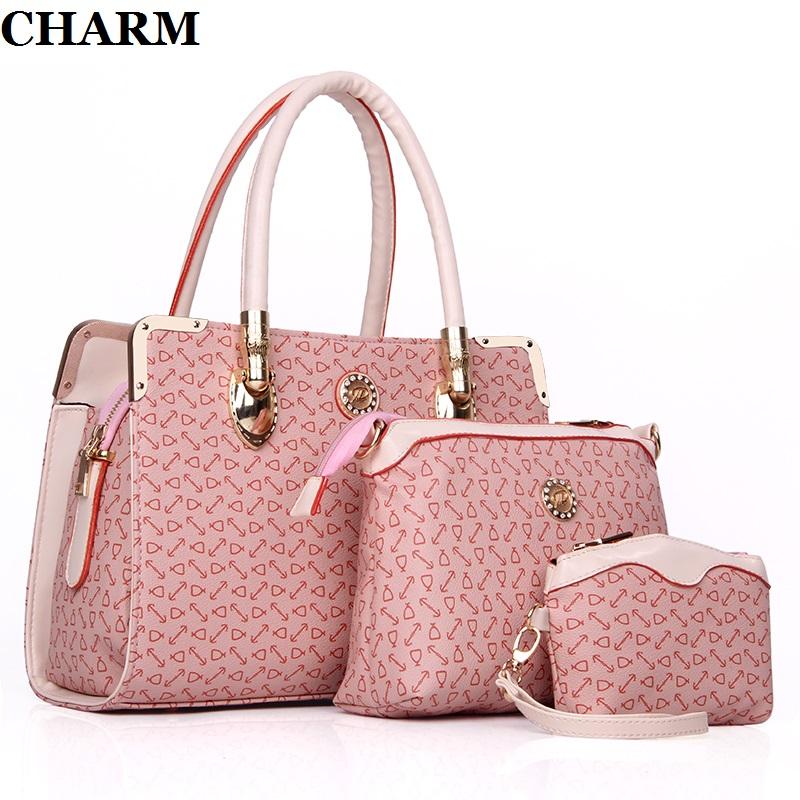 New 2016 women handbags leather handbag female crossbody bags ladies brand bag bags Handbag+Messenger Bag+Purse 3 Sets