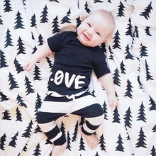 2016 Summer Carter Kids Clothes Baby Clothing Children Apparel T-shirt&Pant 100%Cotton Love Letter/Stripe Pant Free Shipping