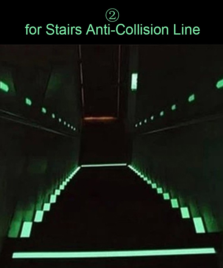 1pc Glow in the Dark Anti-Collision Strip Sticker Decorative Films Luminous Stairs Line Sticker Fluorescent Tapes for Wall Decor