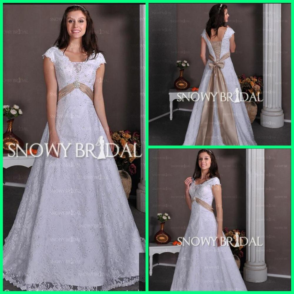 Gorgeous a line white lace fashion wedding dresses 2016 cap sleeve modest beaded wedding gowns v neck bride dresses(China (Mainland))