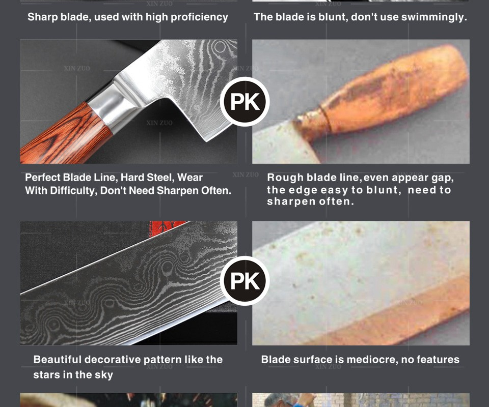 Buy HOT 7 inch chef knife 73 Layers VG10 chef Kitchen knife Cook Knives Damascus Steel kitchen Knife color wood handle free shipping cheap